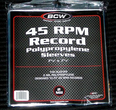 100 Clear Plastic 45 RPM Outer Sleeves 2 Mil High Quality 7