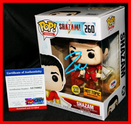🔥  Rare Zachary Levi Signed Glow In The Dark Exclusive Shazam Funko POP PSA 🔥