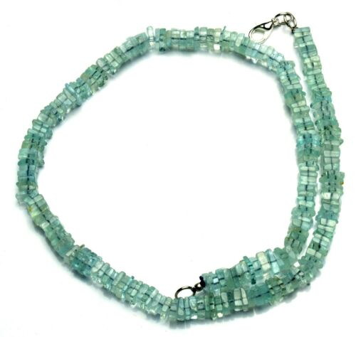 """Natural Gem Aquamarine 5.5MM Approx Size Square Heishi Beads Necklace 17"""" 155Cts"""