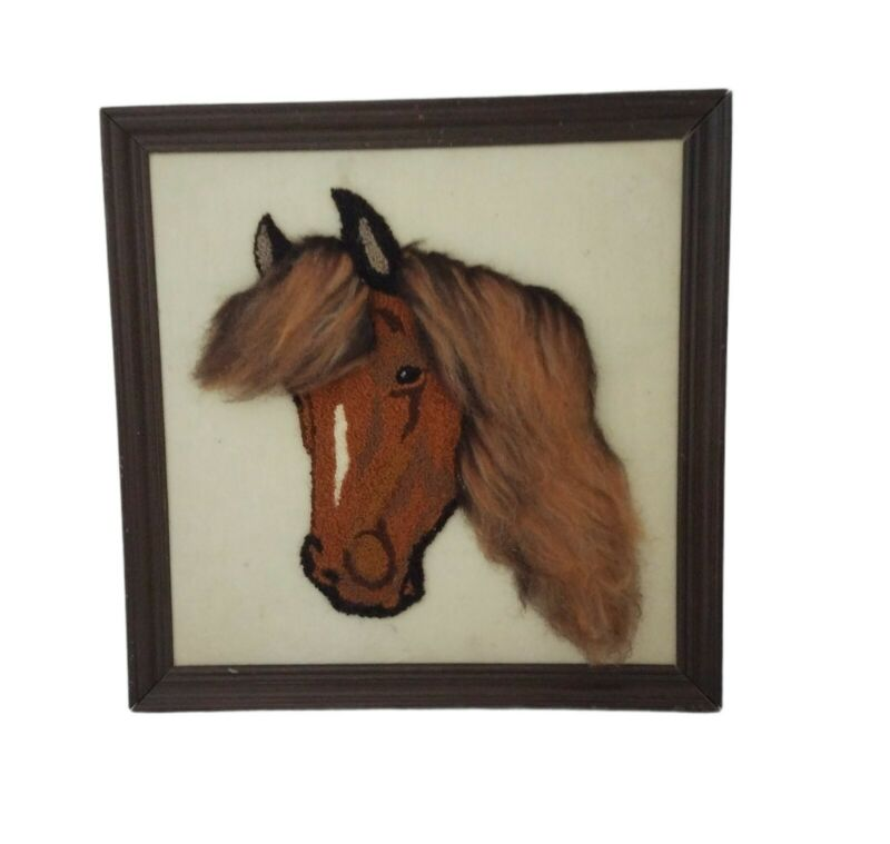 Framed Completed Punch Needle Horse Western Country Home Decor Wall Art