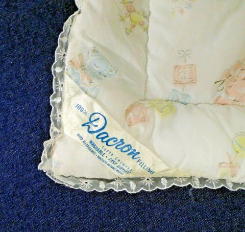 Vintage Quilted Nylon Pastel Bunnies Teddy Bears Blocks Baby Blanket Dacron Fill