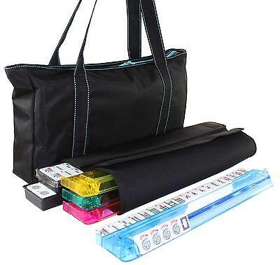 Used American Mahjong Waterproof Black Nylon Blue Stitch Bag Color Pushers Racks