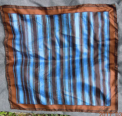 "KEN SCOTT SILK SCARF KEN SCOTT BRONZE BLUE & BLACK 26 1/2"" SQUARE STRIPED SCARF"