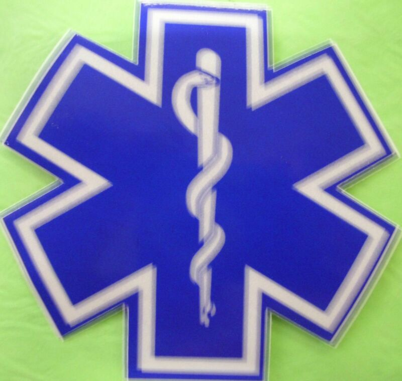 "STAR OF LIFE 8"" WHITE & BLUE REFLECTIVE DECAL STICKER"