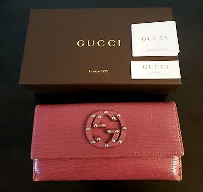 GUCCI PINK SOHO ZIP AROUND STUDDED CONTINENTAL WALLET WITH BOX