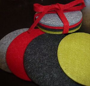 Set 4 Round FELT COASTERS Red Grey Green Charcoal Whiskey decoration/Gift Drink