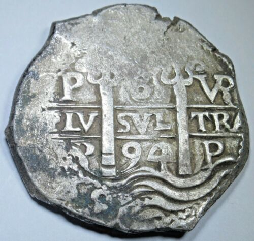 1694 Spanish Potosi Silver 8 Reales Eight Real Colonial Pirate Treasure Cob Coin