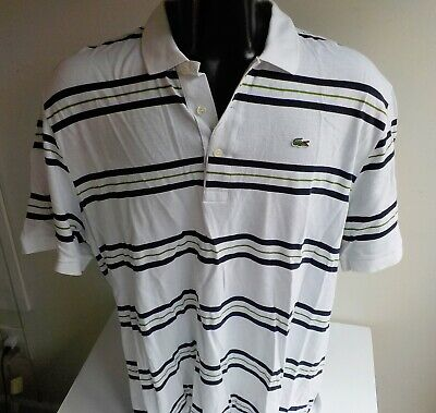 LACOSTE Crocodile Logo S/S Polo Shirt Size: 8 ...2XL   White/Navy/Green