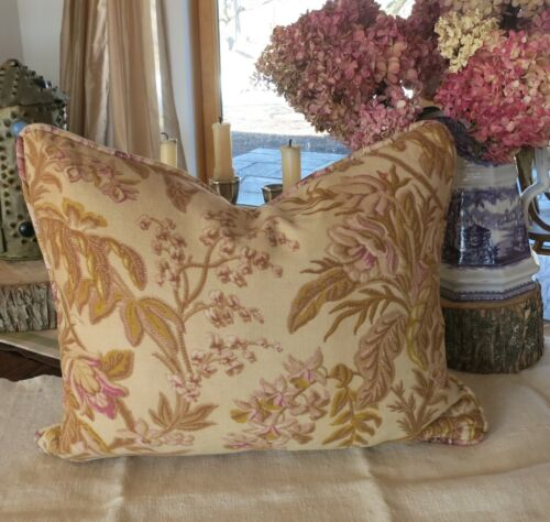 Antique / Vintage French Custom Made Fabric Pillow Floral Home Decor
