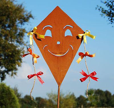 Drache Drachen auf Stab Metall Rost Gartendeko Herbstdeko 2 Größen Halloween