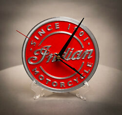 Indian Brand, Classic, Motorcycle, 3D Printed, Wall Clock, Home Decor, Red
