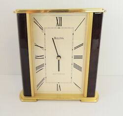 Bulova Westminster Clock Mantle Table Top Office Desk Battery Operated Brass