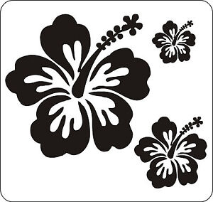 40 BLACK HIBISCUS FLOWER STICKERS CAR WALL BEDROOM WINDOWS DECALS GRAPHICS
