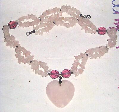 Vintage HANDMADE ARTISAN Genuine AMETHYST & ROSE QUARTZ HEART Pendant Necklace Genuine Heart Rose Quartz Necklace
