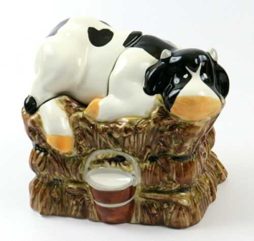 Vintage Country Home Ceramic Cookie Jar, Cow Laying On Hay Bale with Bucket