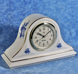 Seth Thomas ASHLEIGH Porcelain Case Quartz Desk Shelf Clock- Blue Floral Roses