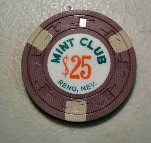 Casino Chip $25 Mint Club Reno, Nevada Pre Owned