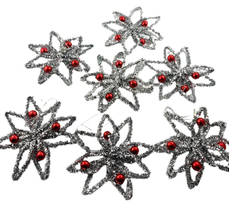 Lot of 5 Vintage Reproduction Silver Tinsel Stars with Mercury Beads Christmas