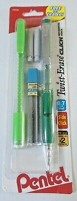 Pentel Twist Erase Click Mechanical Pencil Side Click 0.7mm Wclic Eraser Green