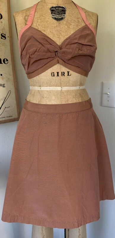 Vintage 40s Playsuit Swim Suit Two Piece Skort Taffeta Mauve/Pink Bikini Top
