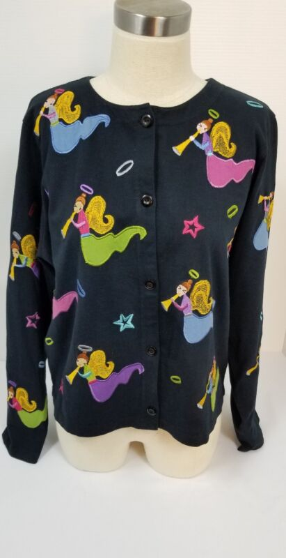 MICHAEL SIMON Cotton BLACK CARDIGAN Crochet Embellished Sweatshirt Sweater
