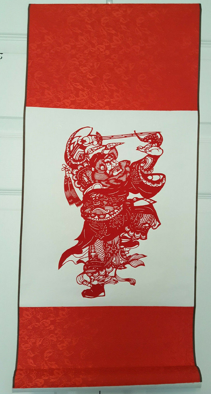 Chinese Scroll Ching Warrior In Red Papercut On Silk Chinese Wall Hanging 26x12  - $21.95