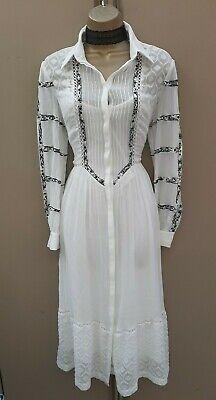 KAREN MILLEN 10 UK White Black Embroidered Long Maxi Cocktail Party Shirt Dress
