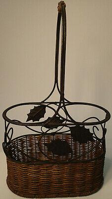 Wine Basket Two 2 Bottle Holder Caddy Carrier Rattan & Metal