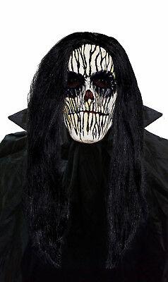 Unheimlich Latex Maske & Schwarze Perücke Herren Halloween Kostüm Voodoo Zombie ()