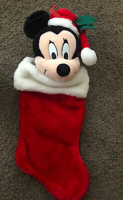 "Big MICKEY Christmas STOCKING 19"" Plush Disney Santa's Best Vintage Stuffed"