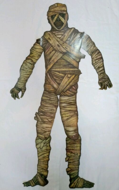 "Vintage Beistle Halloween Die Cut Jointed Mummy Decoration 40"" 1990s"