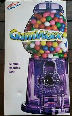 Carousel GumWorx Gumball Machine Bank - Translucent Green Base!  New In Box