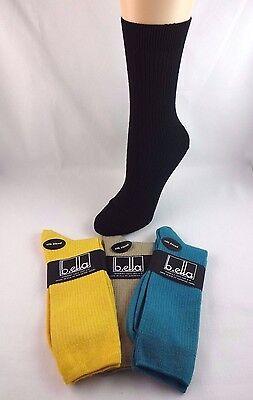 Silk Rib Socks (Ribbed Socks Solid Color Crew Ladies Size 9-11 Nylon Cotton Silk B.ella)