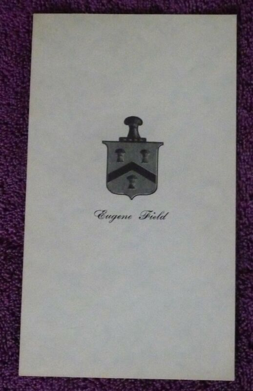 EUGENE FIELD POET VINTAGE RARE PERSONALLY OWNED BOOKPLATE CIRCA 1890