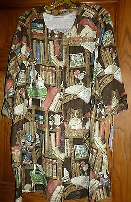 """Dog """"Library Print"""" Button Front Smock Coat,Size XL, By Susan McDuffie, USA, NWT"""