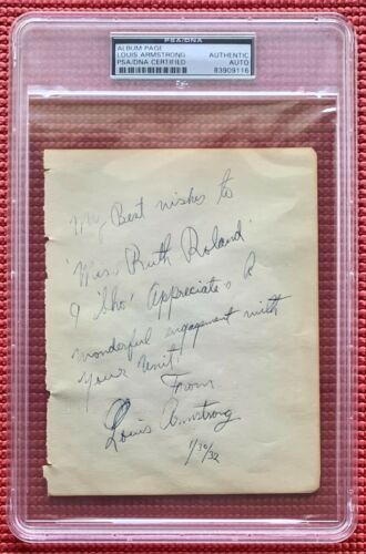 PSA slabbed LOUIS ARMSTRONG handwritten & signed VINTAGE PAGE autographed SATCH