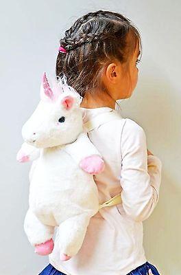 Einhorn Rucksack Unicorn Püsch weiß rosa mit Tragegriff 38 cm Neu OVP