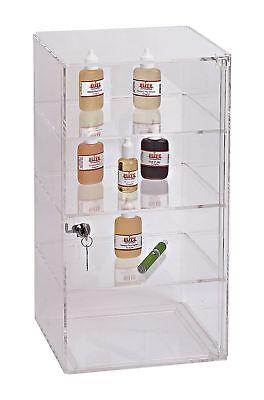 3 Removable Shelf Clear Acrylic Display Case Retail Jewelry Merchandise Lock Key
