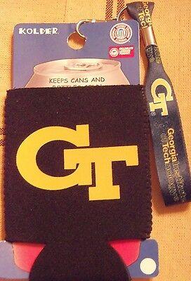 Kolder NCAA Georgia Tech Team Color Can Kaddy Koozie w/Wristlet Key Ring NWT Tech Kaddy