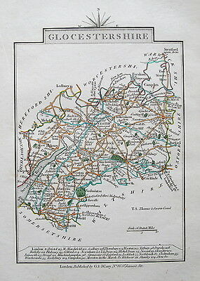 GLOCESTERSHIRE Gloucestershire 1828 Miniature Antique Map by Cary Hand Coloured