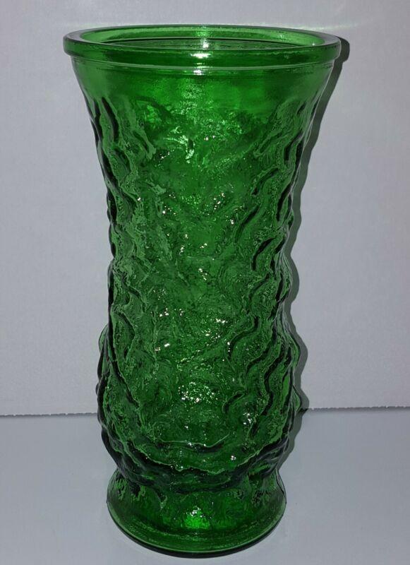 Vintage Hoosier Glass Company Emerald Green Large Pebble Textured Glass Vase