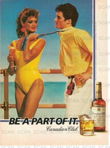 1984 Canadian Club Whiskey Vintage Magazine Ad    Couple  Sexy Girl In Swimsuit