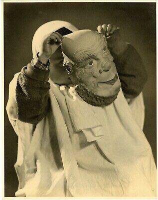 Vintage Halloween Costume Photo CHILD WITH CREEPY HORROR MASK STUDIO 11