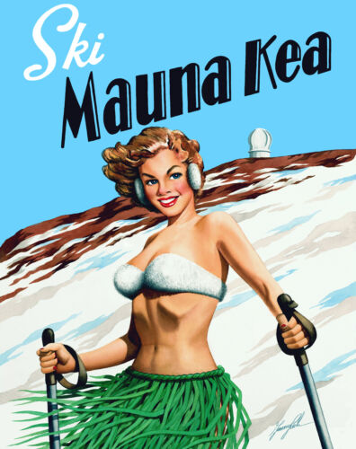 """ski Mauna Kea"" 16 X 20  Unmatted & Rolled Print By Artist Garry Palm"