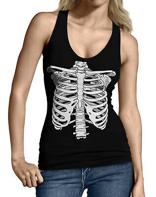 Ribcage Skeleton Bones Halloween Funny Costume Idea  Junior's Tank Top Shirt](Bones Halloween Costume)