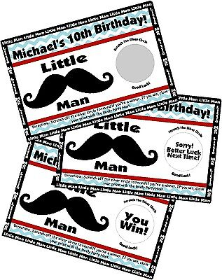 MUSTACHE LITTLE MAN SCRATCH OFF OFFS PARTY GAME GAMES CARDS BIRTHDAY FAVORS - Little Man Birthday Party