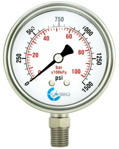 "2-1/2"" Pressure Gauge, ALL STAINLESS STEEL, Liquid Filled, Lower Mnt, 1500 Psi"