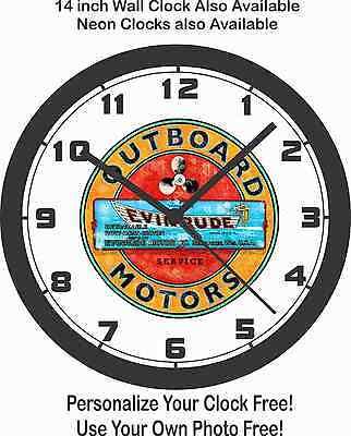 EVINRUDE OUTBOARD MOTORS LOGO WALL CLOCK-FREE USA SHIP!