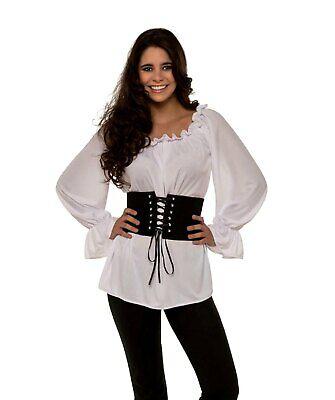 White Renaissance Blouse Top Shirt Gypsy Peasant Pirate Women's Costume SM-XL