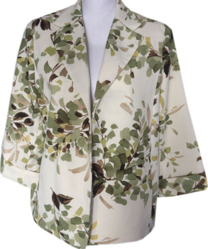 Petite Blazer Alfred Dunner Floral Size 14P 3/4 Sleeve Career Green Cream Jacket